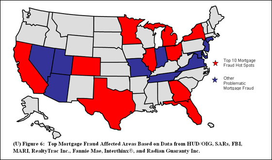 Top Mortgage Fraud Areas