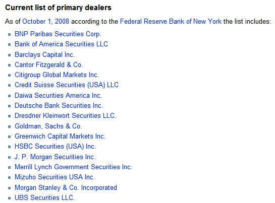 Primary dealers